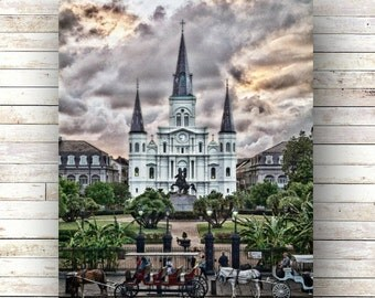 New Orleans Art SUNSET AT SQUARE French Quarter Architecture  St. Louis Cathedral Jackson Square Sundown Clouds Nola New Orleans artist