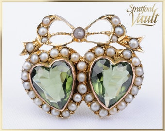 Art Nouveau ~ Seed Pearl Heart Bow Brooch ~ 10k Yellow Gold ~ Bead Set Pearls ~ Heart Shaped Faceted Green Glass ~ STR17319 ~ GIA ~ 1000.00