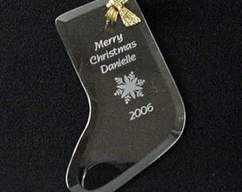 Engraved Glass Stocking Ornaments, Personalized Stocking Ornament