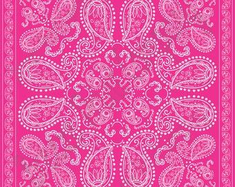 Magenta pink  bandana pattern printed craft or adhesive  vinyl sheet - HTV or Adhesive Vinyl -  dark pink HTV6003