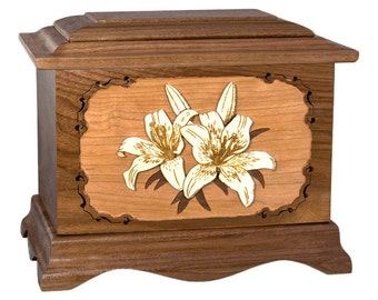 Walnut Lilies Ambassador Wood Cremation Urn