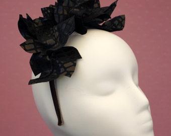 Black Leaves Headband Fascinator