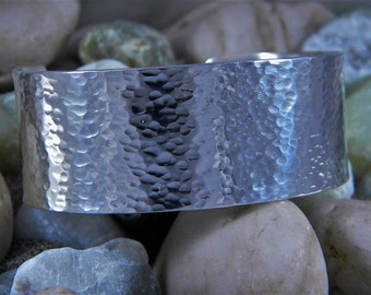 "Hammered Sterling Silver Cuff 1"" wide"