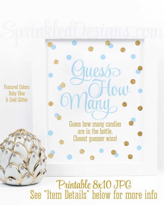 Baby Shower Games   Guess How Many, Candy Guessing Game, Candies In Bottle    Baby Blue Gold Glitter Printable Baby Boy Shower Game Ideas