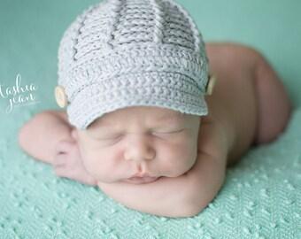 Newsboy cap, newsboy hat, newborn hat, newborn photo prop, boy photo prop, photography prop, crocheted hat, boys hat, newborn boy photos