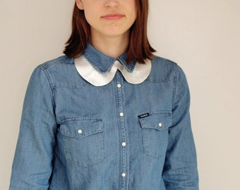 Leather Peter Pan collar, womans leather collar, silver leather collar, CollectionWN