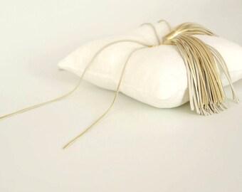 Ring bearer pillow Wedding ring pillow Linen ring pillow with gold leather tassels Linen ring bearer pillow White linen ring bearer pillow