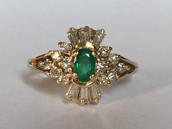 antique emerald ring halo 14k yellow gold deco