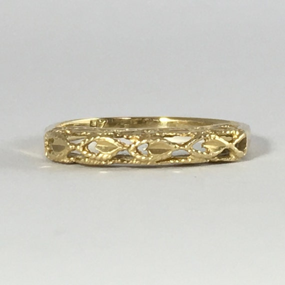 vintage gold wedding band with ornate filigree nouveau