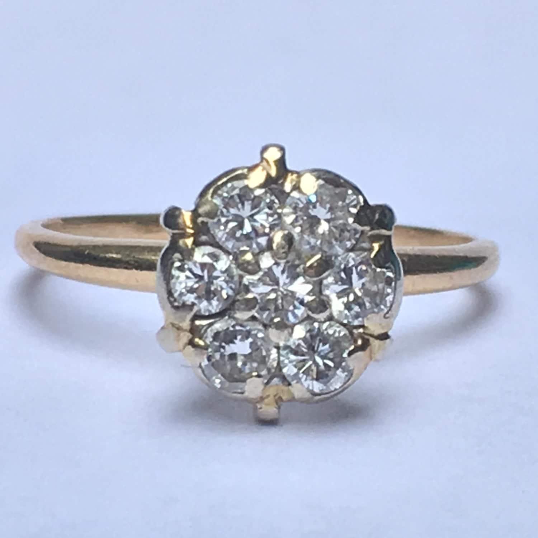 vintage diamond cluster ring 14k yellow gold floral design. Black Bedroom Furniture Sets. Home Design Ideas