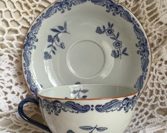 Vintage Rorstrand Ostindia cup and saucer Sweden blue white floral pattern East Indies