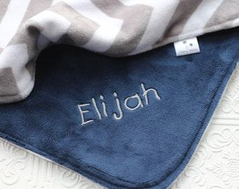 Personalized Baby Blanket, Boy Minky Blanket, Boy Baby Blanket, Chevron Minky Blanket, Boy Chevron Blanket, Minky Baby Blanket, Baby Gift