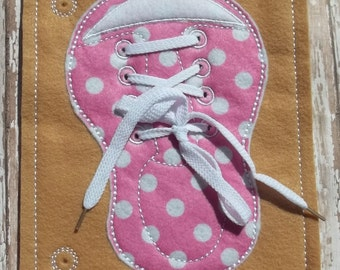 Busy Board Felt Board Shoe  Learn to Lace & Tie Busy Page Quiet Page Busy Book shoe Lace colors can be customized Personalization is avai