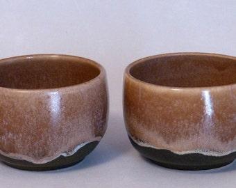 Soup Mug Pair - Mocha Brown Pottery Mug,(coffee mug, tea cup, stoneware, ceramic, brown soup cup, rustic, tan, caramel color