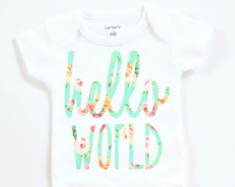 Hello World Baby girl clothes Floral Hello World Baby Girl newborn coming home hospital outfit coming home