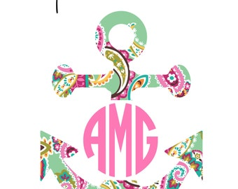 Monogram Anchor Iron On Decal