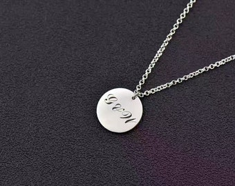 Monogram Necklace Silver Circle,Monogram Name Necklace,Gold Name Necklace,Custom Initials Name Necklace Sterling Silver, Thanksgiving Gift
