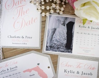 Handmade Save the date cards, Invitation, Vintage Glam, wedding save the date cards