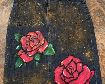 Rose Denim Skirt