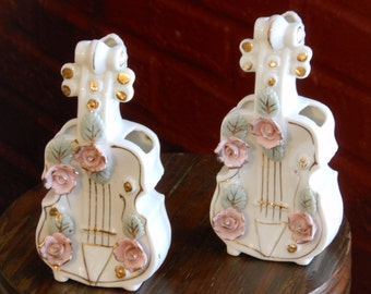 A Pair of Porcelain Cello Wall Pockets. Sonsco. Japan.