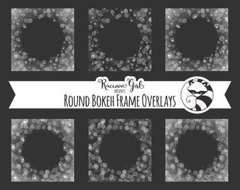 Round Bokeh Frame Overlay Clip Art Set - Personal & Commercial Use
