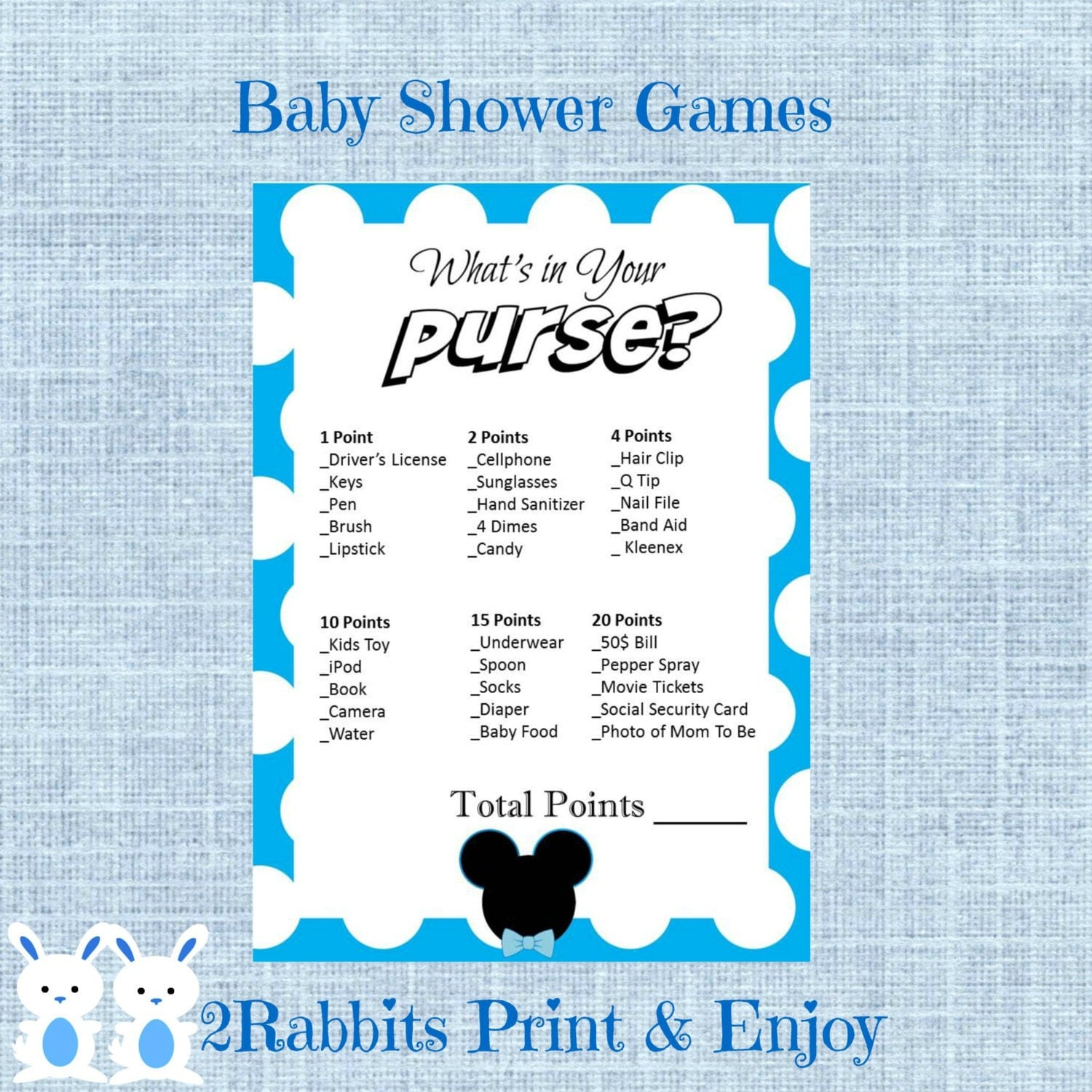 mickey mouse what 39 s in your purse baby shower game mickey