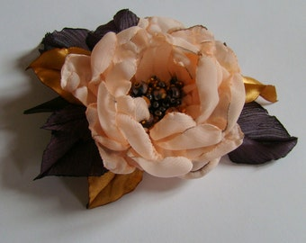 Wedding dress accessories, flower pin, bridal dress accessory, peach puff color flower brooch.