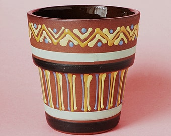 Priddoe's Style Pottery Flower Pot -  Babbacombe Pottery Aztec Designs - Possibly Priddoe & By  Deirdre Wood - Slip-ware Pottery - 1952-67