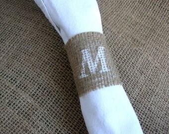 40-60 Monogram Burlap Napkin Holder - Personalized Wedding Napkin Rings - Rustic Wedding Decor - Fall Woodland Wedding - Napkin Holder