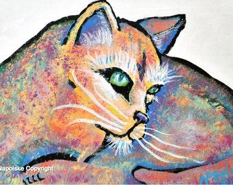 "Fine Art Print  ""Designer Cat""   Print by Napolske Art Painting"