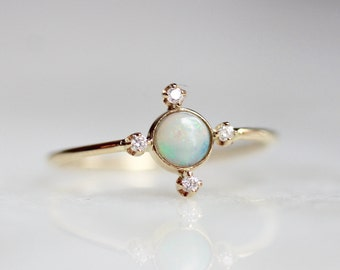 14K Star Opal Ring, Star Ring, October Birthstone, Opal Ring, Opal Diamond Ring, Yellow Gold, Rose Gold, Dainty Opal Ring, Gifts For Her
