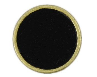 Metal Buttons - Antique Brass Black Enamel Metal Buttons - 14mm - 9/16 inch - 6 pcs