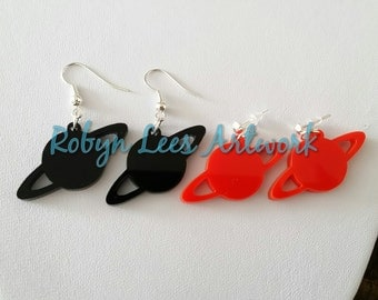Black or Red Laser Cut Planet Saturn Earrings on Silver Hooks or Posts