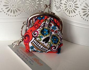 Skull Coin Purse - Sugar Skull Purse - Day of the Dead Kiss Lock Purse - Small Coin Purse