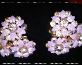 Vintage Flower Earrings Lilac in Color ~ Dainty Bouquet ~ Spring Has Sprung!
