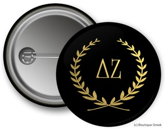 DZ Delta Zeta Wreath Sorority Greek Button