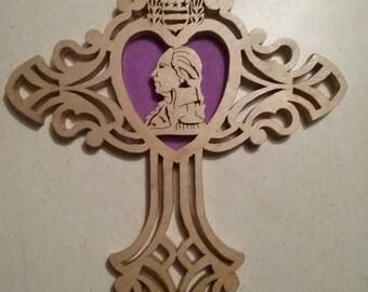 "Hand Made - 1/4"" - Scroll Saw Purple Heart Medal Cross (#28)"