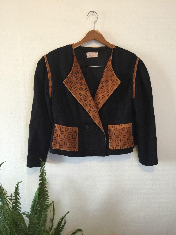 Vintage 1980u0026#39;s African Print Linen Blazer Shoulder Pads