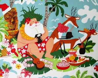 Fabric, Surfin Santa, Tropical Christmas, Alexander Henry, Surfboard Reindeer Ocean Waves, By The Yard
