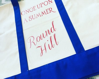 Once upon a summer beach canvas tote