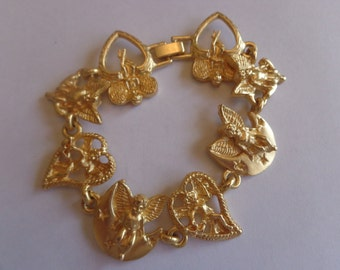 Vintage Angel Bracelet Gold Tone Vintage Lovely Angel Bracelet Vintage Angels Vintage Jewelry