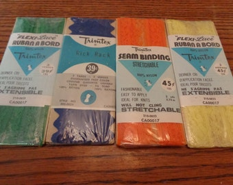 Vintage Trimtex Packages Vintage Sewing Supplies Flexi Lace Rick Rack Vintage Supplies