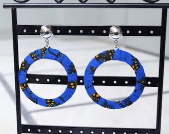 African Print Ankara Blue & Yellow Hoop Earrings