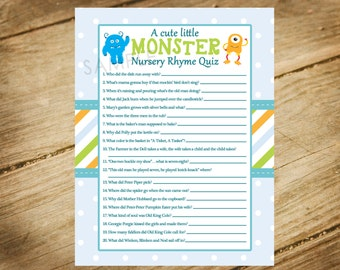 Little Monster / Baby Shower / Monsters Inc / Monsters Theme Matching Baby Shower Game - Nursery Rhyme Quiz