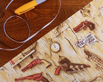 Vintage Wild West Gift Wrap Guns With Woodgrain Ammo Spurs Pocket Watch Knife & Wanted Ads 2 yards