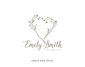 Premade Logo Design - Laurel Wreath Heart Logo - Calligraphy Logo - Photography Logo - Boutique Logo - Small Business Logo  (076)