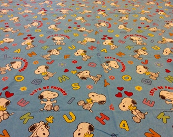 """Vintage Snoopy Twin Bed Flat Sheet """"Let's Be Friends"""" by United Feature Syndicate/The Bibb Company, Vintage Peanuts Sheets, Snoopy Bedding"""