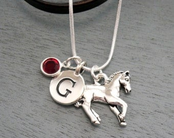 Horse Necklace, Horse Jewelry Gifts, Horse Charm Necklace, Personalized Horse Necklace, Letter G, January, Letter Birthstone, Silver, Custom