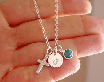Personalized Cross Necklace, Sterling Silver Cross Necklace, Initial Birthstone Cross Necklace, First Communion Gifts, Girl Baptism Gift