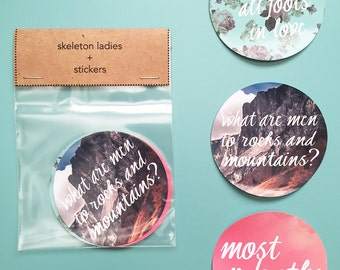 Pride and Prejudice Stickers//Pack of 3